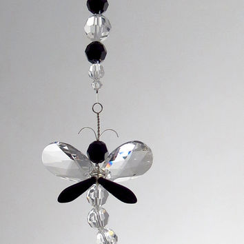 Gift for Mom Black Dragonfly Easter Ornament Crystal Suncatcher Window Decoration Mothers Day Gift Swarovski Rear View Mirror Charm Gothic