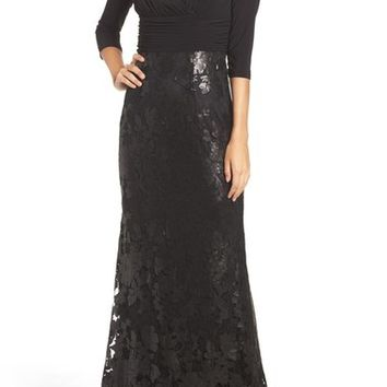 Adrianna Papell Sequin Lace & Jersey Gown | Nordstrom