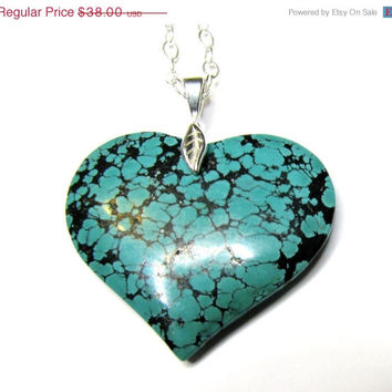 Genuine Turquoise Gemstone Heart Pendant Necklace, Removable Pendant, Sterling Silver Chain Necklace, Love Gift For Her, FREE SHIPPING