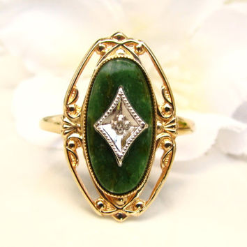 Vintage Aventurine Diamond Accent Ring 10K Gold Filigree Ring Art Deco Style PSCO Navette Ring Size 6
