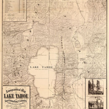 Lake Tahoe, California, Nevada, c.1870s View, Aerial View - Beautiful Print=(Antique,Vintage,Old) =Map is Perfect for Framing!
