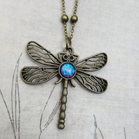 Delicate Dragonfly Antique Bronze Necklace - Handmade Rainbow Dash Color Shifting Stone