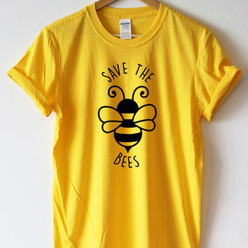 Save The Bees Tshirt Shirt Bees T-shirt Bees shirt Bee clothing Nature Environment High Quality SCREENPRINT Super Soft unisex Worldwide ship