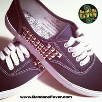 Bandana Fever Custom Studded Vans Authentic Navy Silver Pyramid Studs Sides