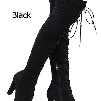 New Women FD14 Stretchy Lace Up Over the Knee Thigh High Combat Heel Boot 5.5-10