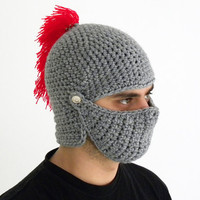 Crocheted Knight Helmet Hat Crochet Slouch Mens Red by sunsfashion