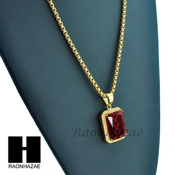 "MEN ICED OUT 316L STAINLESS STEEL RED RUBY PENDANT W 24"" BOX CHAIN NECKLACE S220"