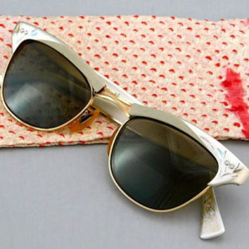 1950's Vintage American Optical Etched Aluminum and Brass Wire Browline Sunglasses & Kimono Silk Case