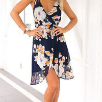 Floral Print Deep V-Neck Asymmetrical Mini Dress