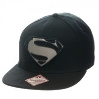 Superman Silver Logo Man of Steel Black Snapback Hat Cap - Superman - | TV Store Online