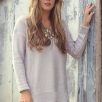 Cloudy Daze Silver Oversized Long Sleeve V-Neck Knit Sweater