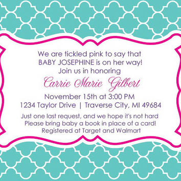 Quatrefoil Baby Shower Invitation • Girl Baby Shower Invite • Digital Printable Invitations