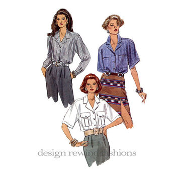 1990s Button Front BLOUSE Notched Collar Elbow Length, Long Sleeves w/ Cuffs Very Easy Vogue 8573 Bust 36 38 40 UnCUT Women's Sewing Pattern
