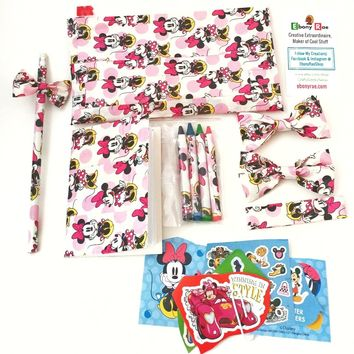 Pink Minnie Mouse Hair Bow Bracelet Gift Set - Pencil Notepad Stickers
