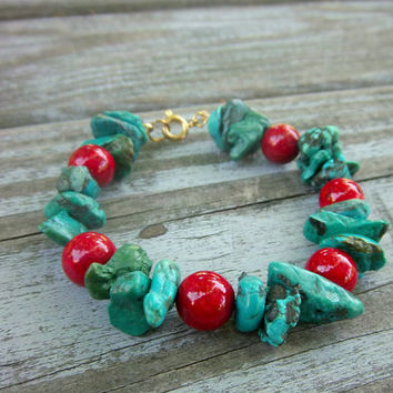 Gemstone Bracelet Turquoise Bracelet Red Stone Bracelet Chunky Bracelet Christmas Bracelet Holiday Seasonal Jewelry CLEARANCE