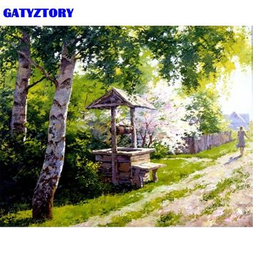 GATYZTORY Frame Gardan Landscape DIY Painting By Number Modern Wall Art Handpainted Oil Painting Acrylic Paint On Canvas Artwork