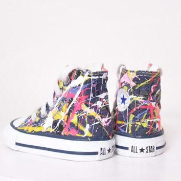 Baby Navy Blue High Top Splatter Painted Converse Sneakers Baby Size 2, Neon Sign Colo