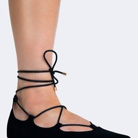 LACE UP POINTED TOE FLAT