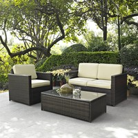 3 Piece Outdoor Patio Furniture Set With Chair Loveseat & Cocktail Table