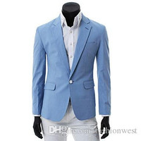 New Fashion Stylish Mens Wild A Buckle Slim Fit Suit Coat Clothing