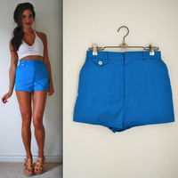 Vintage 60s 70s High Waisted Teal Hot Pants (size xs, small)