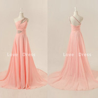 One-shoulder floor-length chiffon beading appliques prom dress