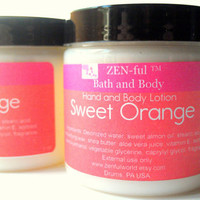 Sweet Orange Body Lotion by ZEN-ful, Hand Lotion,  Shea Butter Body Lotion, Paraben Free Lotion, Gift Ideas, skin care, Lotion 4 oz