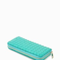 All Over Braided PU Zip Around Wallet