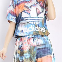 """Adidas"" Women Sports Casual Multicolor Lotus Pattern Print Short Sleeve Shorts Set Two-Piece Sportswear"
