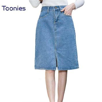 High Waist Jeans Skirts Womens Plus Size 5XL Faldas Mujer Summer 2017 New Fashion Denim Skirt Women Outerwear Skirts Female