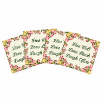 """NL Designs """"Live, Love, Laugh"""" Floral Typography Indoor/Outdoor Place Mat (Set of 4)"""