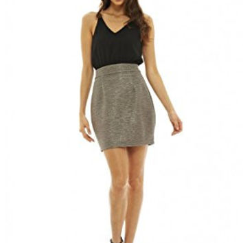 Black Sleeveless Top and Pewter Skirt 2 in 1 Dress