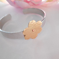 "Hammered and Riveted Flower 3/8"" Cuff Bracelet Made To Order"
