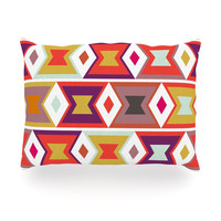 "Pellerina Design ""Aztec Weave"" Orange Purple Oblong Pillow"