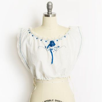 Victorian White Linen Corset Cover -  Cotton Lace Blue Embroidered Antique Edwardian 1900s - Small
