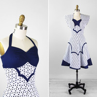vintage 1950s dress / 50s dress / Blue and White Eyelet Halter Sundress