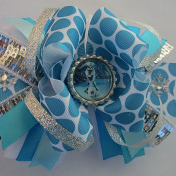 Frozen Olaf Stacked Hair Bow