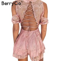 BerryGo Lace up backless sexy jumpsuit romper Summer elegant v neck white lace overall Women off shoulder button floral playsuit