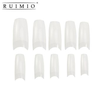 500pcs 4 Style Fake Nails Natural Color Artificial False Nail Tips DIY Art Salon Fake Nail Design Display Training Nail Art Tool