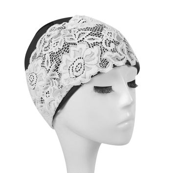 Women Lace Flower Faux Leather Waterproof Swimming Cap Hair Protection Hat