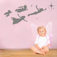 Peter Pan flying wall frieze vinyl wall decal