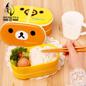 BIUBIUTUA 2 Layer Cartoon Rilakkuma Lunch Box Bento Lunch Container Food Container Japanese Style Plastic Lunch Sushi Box