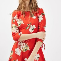 PETITE Red Paint Floral Tea Dress - Dresses - Clothing