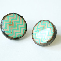 Painted Wooden Branch Slice Post Earrings in Mint ZigZag