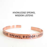mens bracelet - knowledge speaks widsom listens - copper bracelet