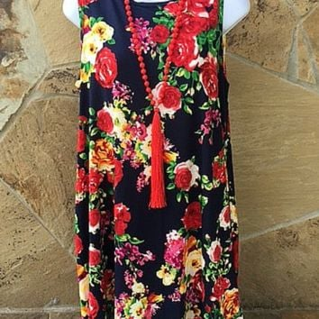 Adults: In Full Bloom Floral Dress in Navy