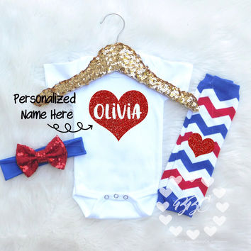 Personalized Baby's Name in Red Heart