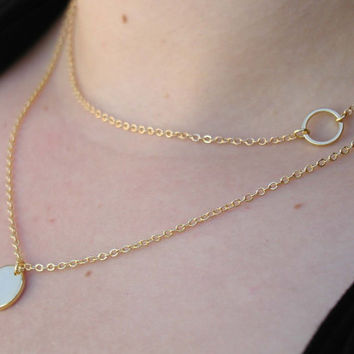 Layering Necklace Set - Delicate Gold Layer Necklaces - Layered Necklace -  Circle Necklace - Initial Necklace - Layered Pendant Set