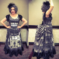SALE Tardis Noir Victorian Steampunk Bustle Gown Black and White Size XL