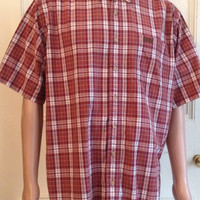 Carhartt Shirt Mens Size LT Large Tall Short Sleeve Red Plaid Cotton